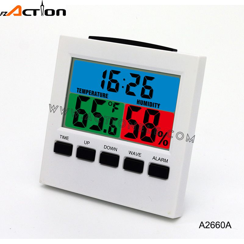 Colorful LCD Digital Alarm Clock with Temperature and Humidity