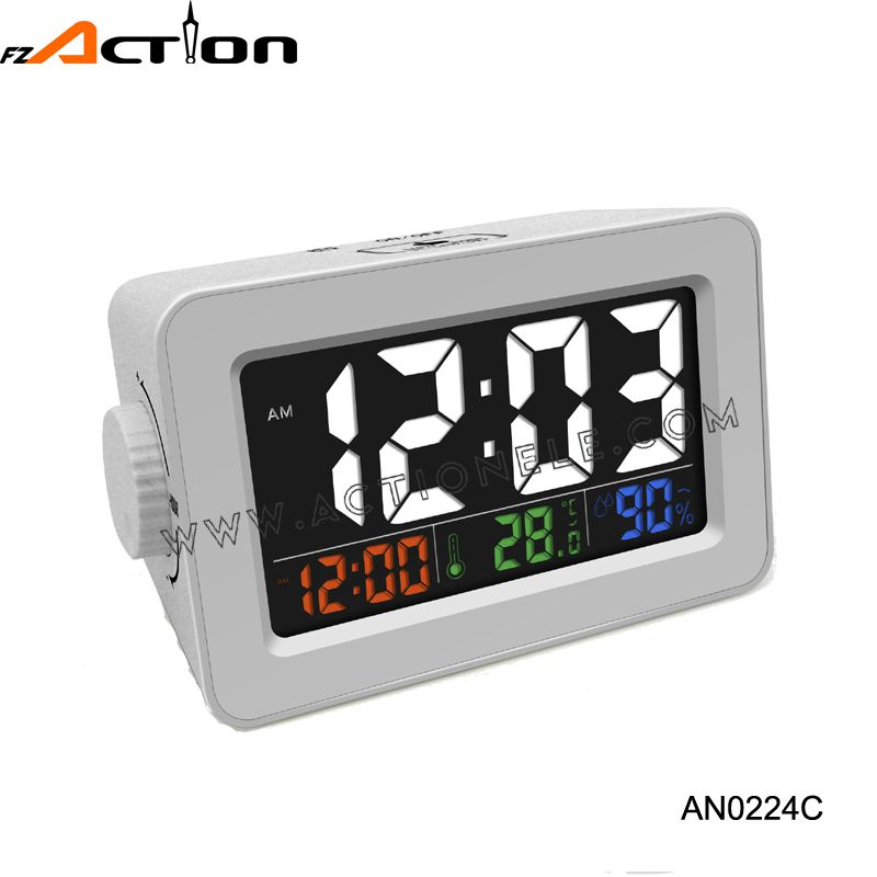 Digital colorful LCD screen smart alarm clock with USB charger for phone