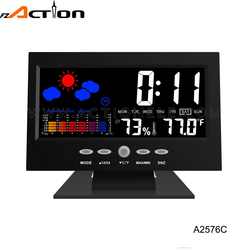 Weather Station Sound Controlled Table Clock with Color LCD