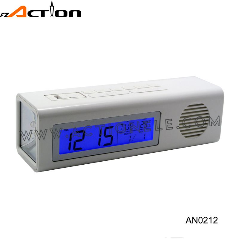 Cheap Torch Digital Clock with FM Radio for Promotion