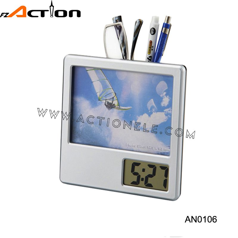 2016 New Design Digital Clock With Penholder and Photo Frame