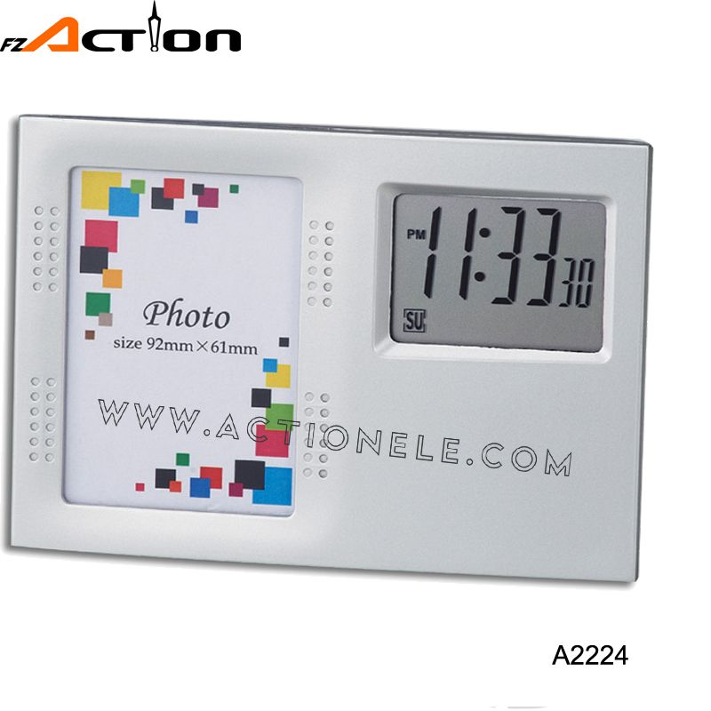 Promotion Photo Frame Digital Clock With Temperature