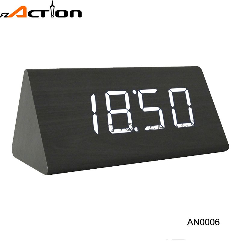 High quality wood desk digital led light clock with temperature