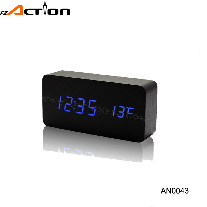 Modern sensor led display digital wood alarm clock