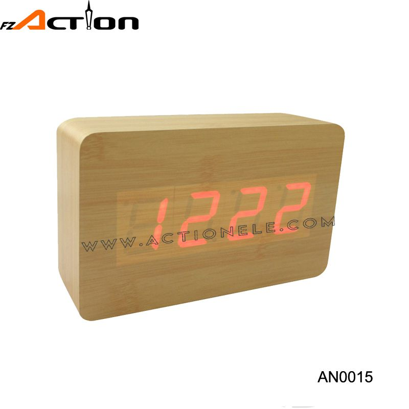 Rectangular digital wood desktop clock with led light