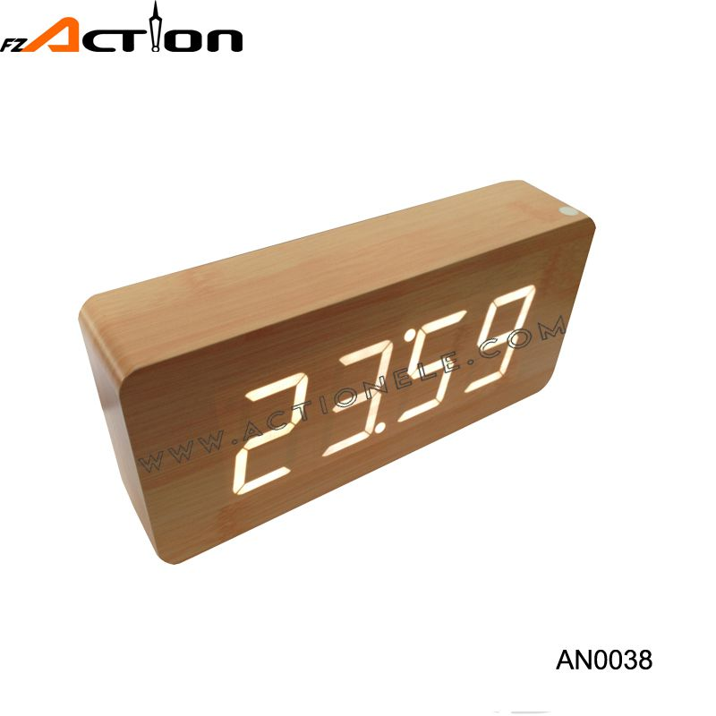 2016 New Design High Quality Classic Programmable Industrial Wood Digital Clock With Alarm
