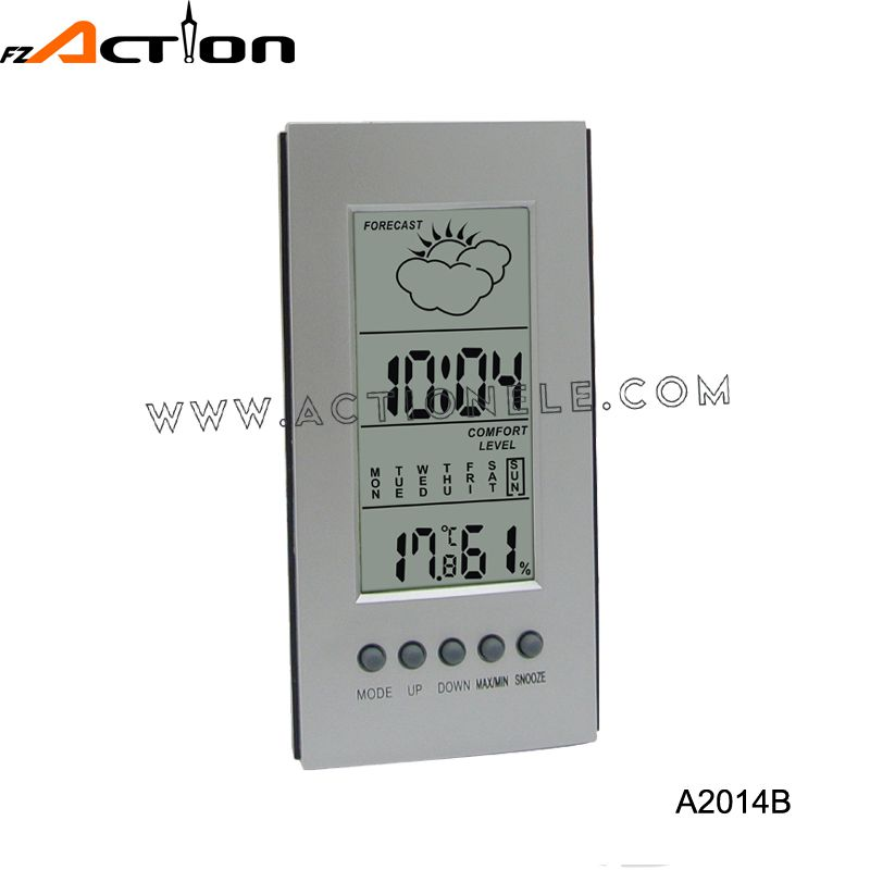 Indoor weather station clock with humidity and temperature