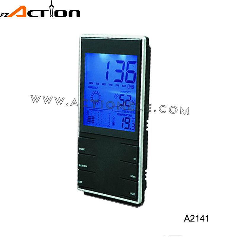 Weather station alarm clock with image and blue back light