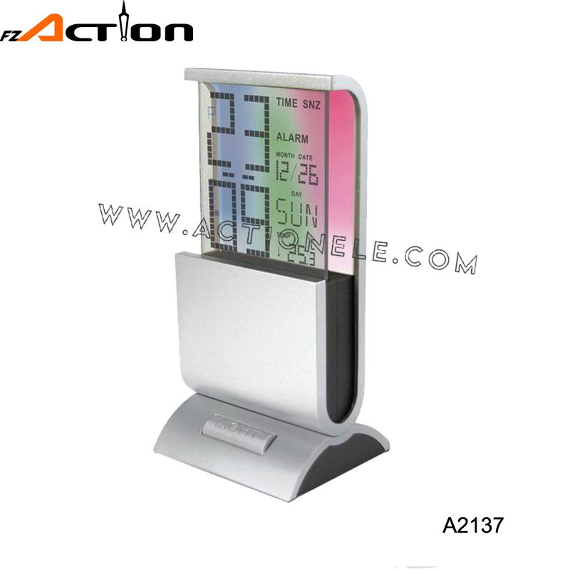 Smart  LED glass alarm clock with color changing display