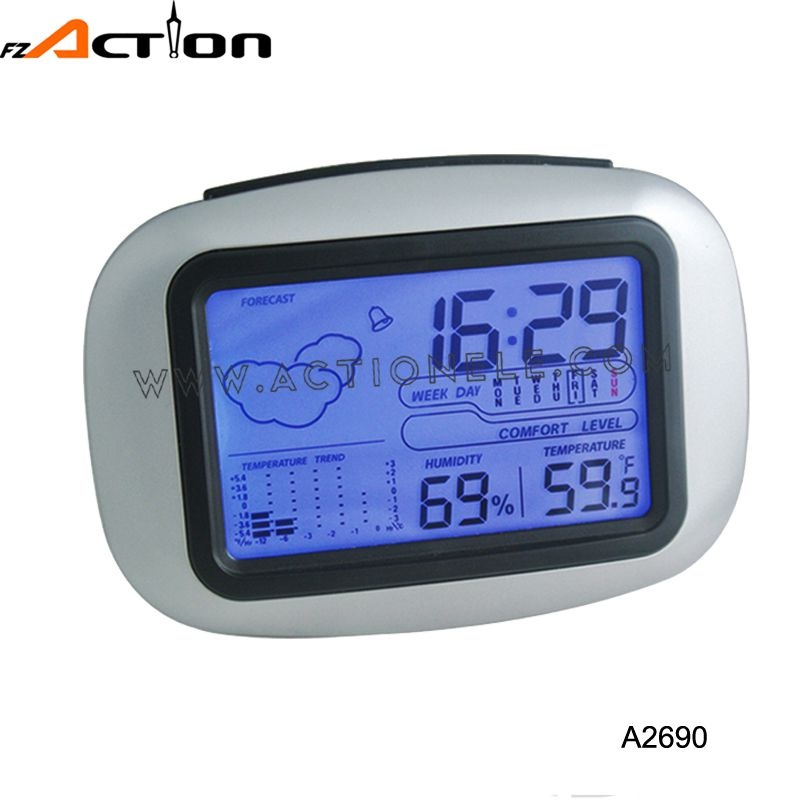 Weather station digital table clock with temperature and humidity