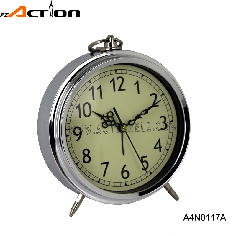 Wholesale Plastic with Chrome Analog Alarm Table Clock