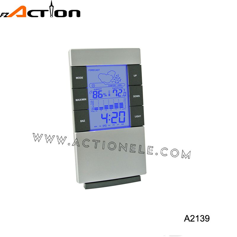 High quality weather station table digital clock with colorful LCD display