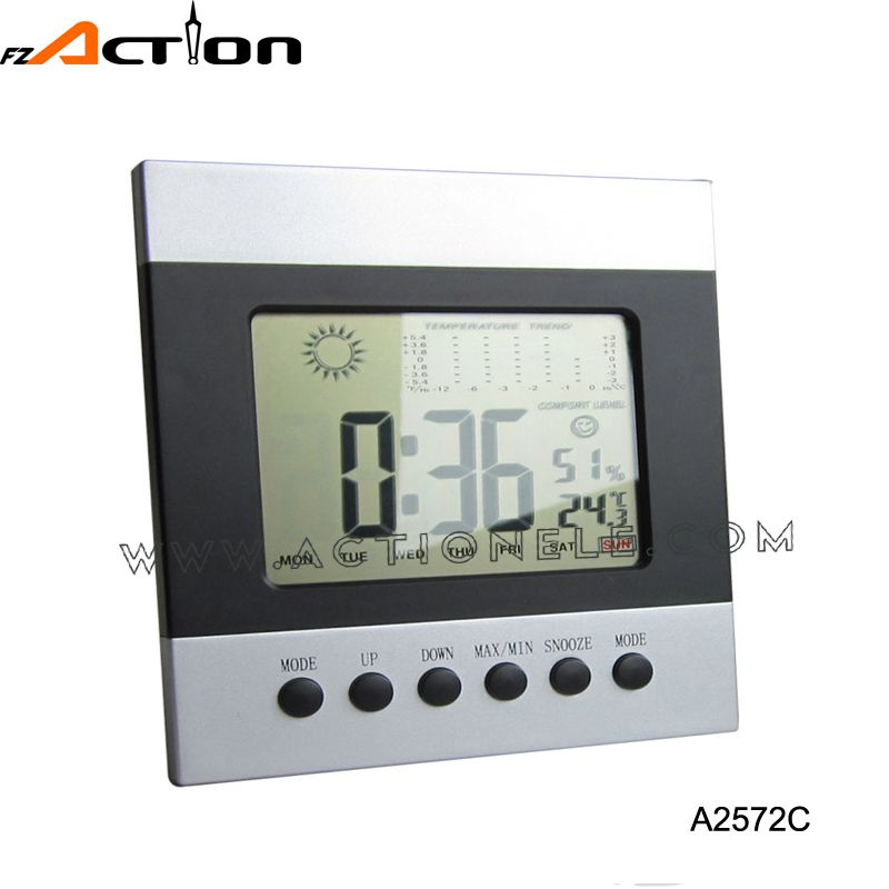 Weather Station Digital Alarm Desktop Clock with World Time Zone