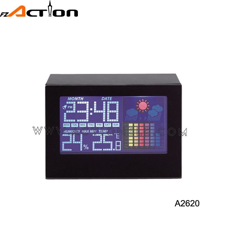 colorful LCD weather station clock with temperature and humidity display