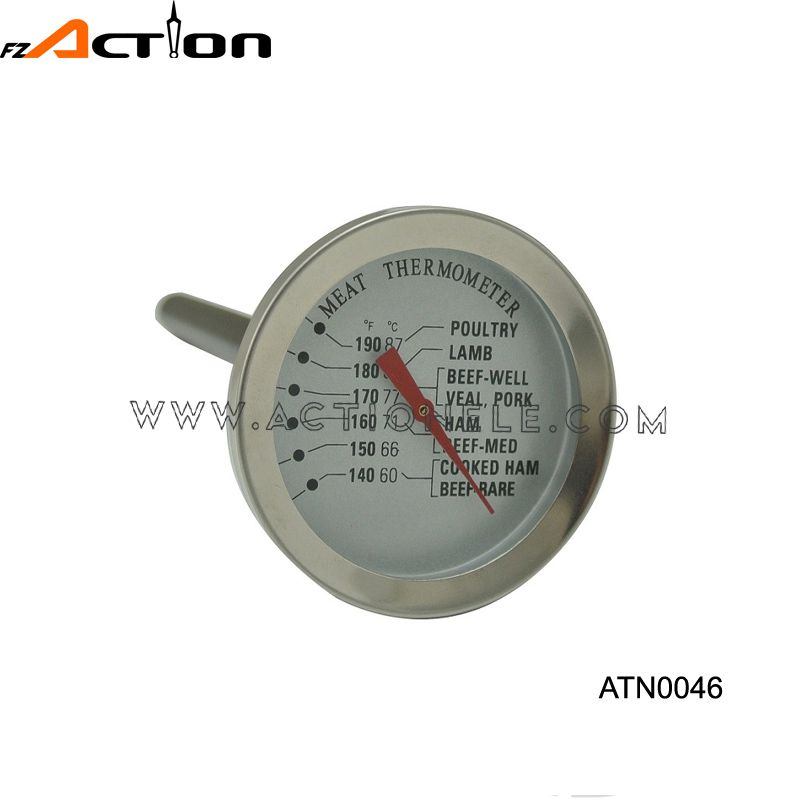 Metal stainless steel meat thermometer